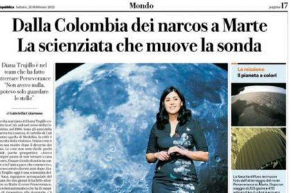 La Reppublica, diario italiano, defendió el titular que uso en la nota sobre Diana Trujillo, quien lideró la misión de la Nasa a Marte.