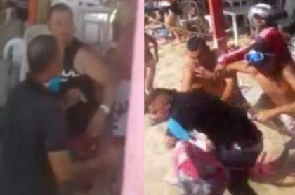 Una fuerte pelea se registró en el restaurante Ciclón Bananero de Playa Blanca (Santa Marta) entre turistas y meseros.