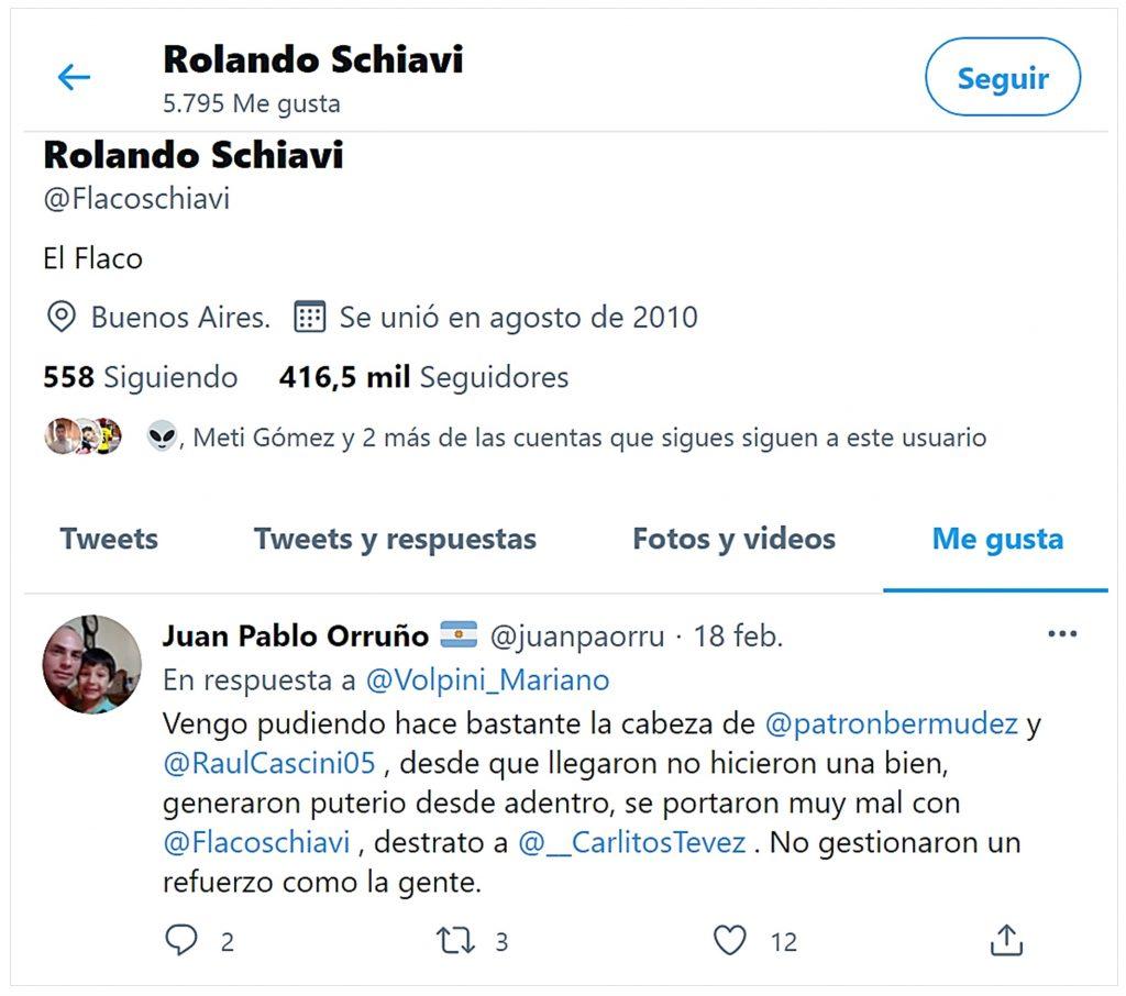 Twitter @FlacoSchiavi