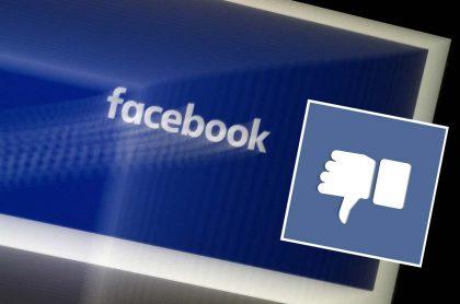 Isologo de Facebook junto a un ícono de 'Dislike' o 'No me gusta'. Imágenes de referencia para ilustrar que autoridades sanitarias de Australia congelaron su publicidad en la red social.