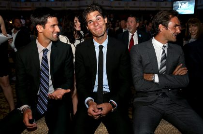 Fotos de Djokovic, Nadal y Federer ilustra nota sobre máximo ganador de Grand Slam