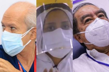 Rostros de los primeros vacunados en el Meta. Ana Burgos, José Ayana y Darío Castell.