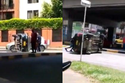 Carro se cayó de una grúa oxidada en CAli.