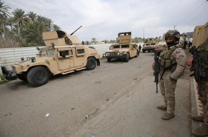 Imagen de soldados iraquíes en Bagdada ilustra artículo Atacan con cohetes la embajada de EE.UU. en Irak
