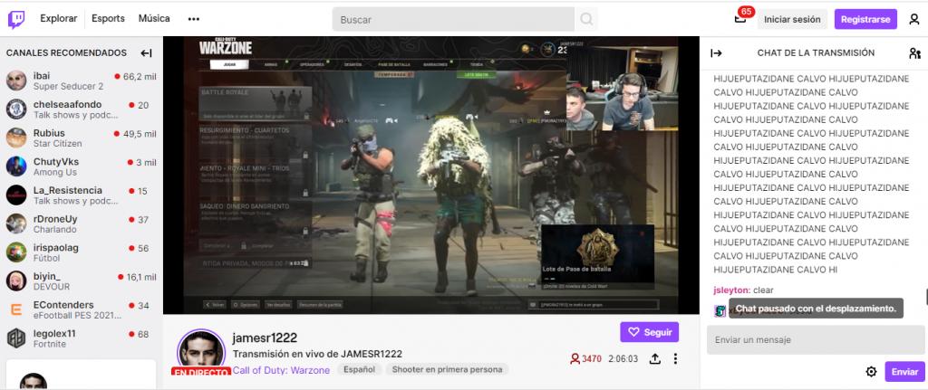 Captura de pantalla de transmisión de James.