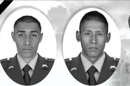 Patrulleros Harol Puentes Rivero y William Fuel Uribe, asesinados en Riosucio, Chocó, al parecer por delincuentes del 'Clan del Golfo'.