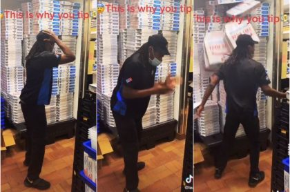 Capturas de pantalla de video viral de empleado de Domino's que explota porque no le dan propina