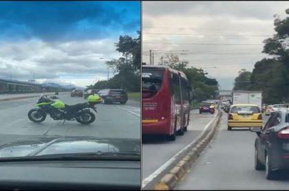 Imágenes de caravana de escoltas que invadieron carril de Transmilenio, en la Autopista Norte de Bogotá