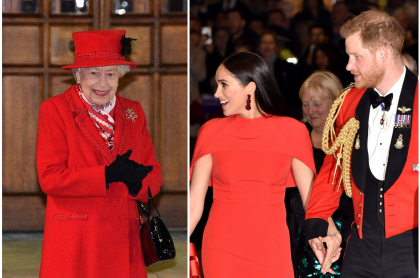 Fotomontaje de Reina Isabel II, Meghan Markle y el principe Harry, a propósito de entrevista  con Oprah