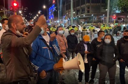 Dueños de gastrobares, en protestas de este martes, en Bogotá
