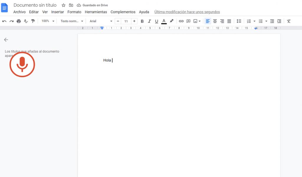 Captura de pantalla a 'Documento de Google'