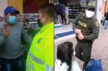 Policías incautaron mercancía a vendedor ambulante en Funza.
