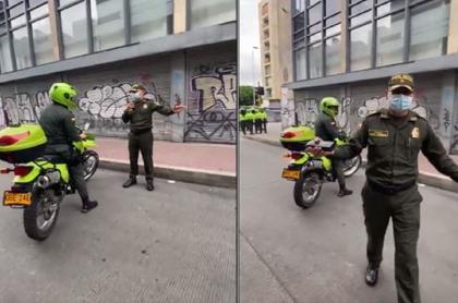 Momento en que el coronel Édgar Cárdenas le hace el reclamo al policía señalado de provocar a los manifestantes en Bogotá
