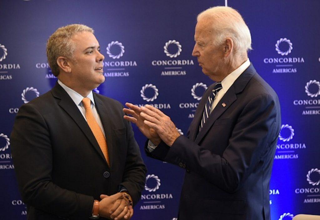 Getty / Iván Duque y Joe Biden, en una reunión del 2017.