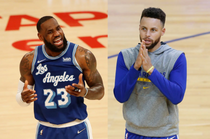 Foto de Lebron James y Stephen Curry ilustra nota sobre los salarios de los jugadores de Los Angeles Lakers y Golden State Warriors (fotomontaje Pulzo)
