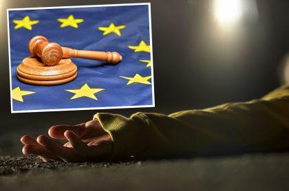 Imágenes de referencia de una bandera de la unión europea con un mazo y del brazo de una mujer accidentada en una carretera. Montaje para ilustrar que la Unión Europea está preocupada por violencia contra defensores de derechos humanos en Colombia.