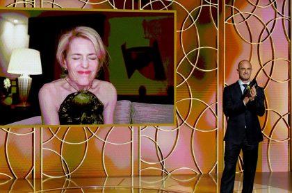 Gillian Anderson, actriz de 'The Crown', en la ceremonia de los Globos de Oro virtual