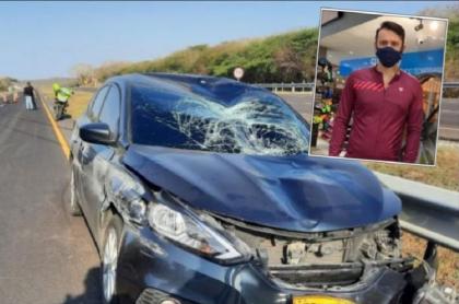 Imagen del carro que atropelló al ciclista Manuel Antonio Picalúa, en Atlántico, que falleció en una clínica