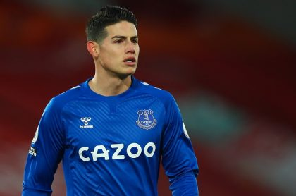 James Rodríguez, quien no fue convocado para el partido entre Everton y Southampton