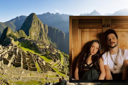 Fotomontaje de Machu Pichu y Camilo y Evaluna, a propósito de críticas