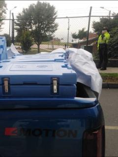 La Policía confirmó que en la camioneta también recuperaron las neveras para transportar vacunas en Bogotá