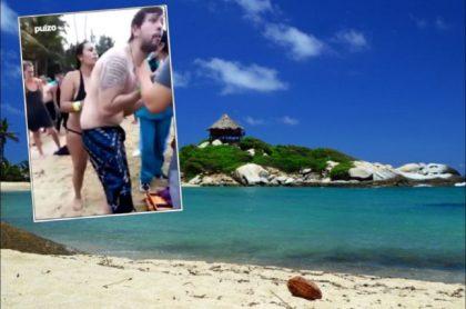 Imagen de personas que suplicaban ayuda para el turista bogotano, César Bolaño, que murió ahogado en el Parque Tayrona