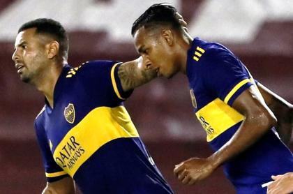 Sebastián Villa, criticado en Argentina por baile tras gol con Boca Juniors. Imagen posterior a la anotación.
