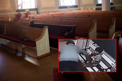 Bancas dentro de iglesia y captura de pantalla de video de ladrón que se metió a iglesia de Argentina y le robó celular a un niño