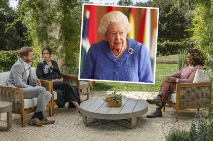 Meghan Markle y el príncipe Harry en entrevista con Oprah Winfrey que será transmitida este 7 de marzo, y que no será vista por la reina Isabel II (recuadro).