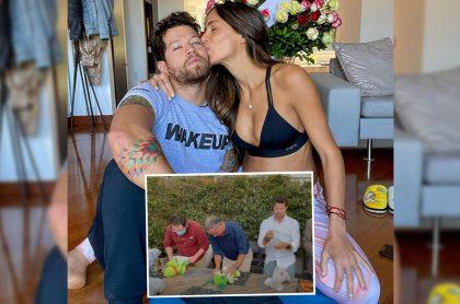 Foto de Instagram de Valerie Domínguez y Juan David 'el Pollo' Echeverry, quienes celebraron el 'baby shower' de su hijo, Thiago, con fiesta que incluyó hasta carrera de cambio de pañales (recuadro).