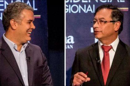 Fotos de Iván Duque y Gustavo Petro en un debate, en 2018, y que ilustra pregunta a los hermanos Galán sobre sus gestiones
