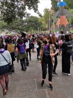 Imagen de la manifestación en el centro de Bogotá.