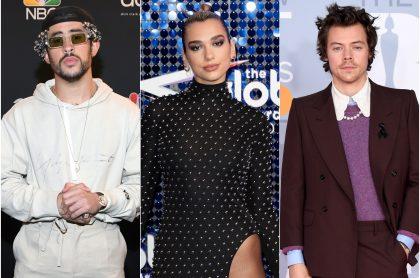 Foto de Bad Bunny, Dua Lipa y Harry Styles, a propósito e su presentación en los Grammy 2021.