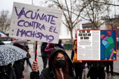Marcha del día de la mujer y captura de pantalla de periódico francés que publicó la carta de un violador a su vi+íctima