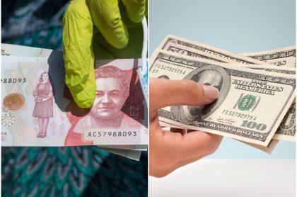 Imágenes  de pesos colombianos y dólares americanos, a propósiuto de ingreso solidario vs estímulos en  Estados Unidos