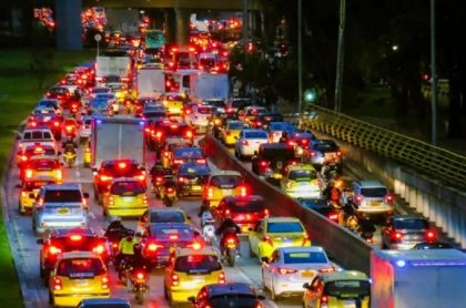 Trancones en Bogotá, que convirtieron a la capital de Colombia en la ciudad más congestionada del mundo en 2020