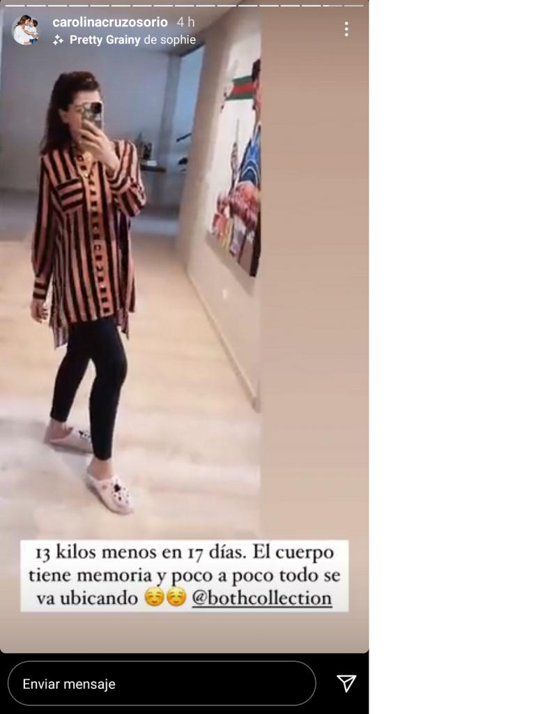Captura de pantalla historia de Instagram carolinacruzosorio.