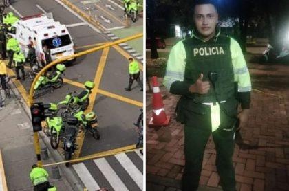 Edwin Caro Gómez, policía asesinado en balacera sobre la Carrera Séptima en Bogotá