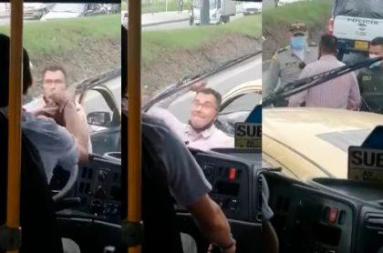 Pelea entre conductor del SITP y un taxista que dejó un vidrio roto.
