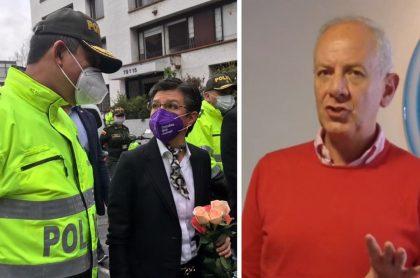 Felipe Zuleta critica a Claudia López por xenofobia ante asesinato de policía. Homenaje a Policía asesinado, Bogotá, marzo 2020.