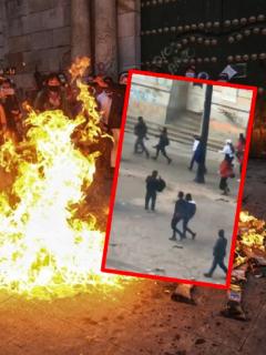 Imágenes que ilustran los disturbios del 8 de marzo en Bogotá.