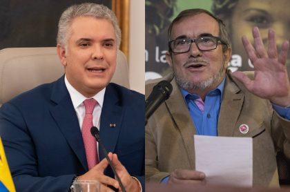 El presidente Iván Duque y el líder del partido Comunes, Rodrigo Londoño 'Timochenko'.
