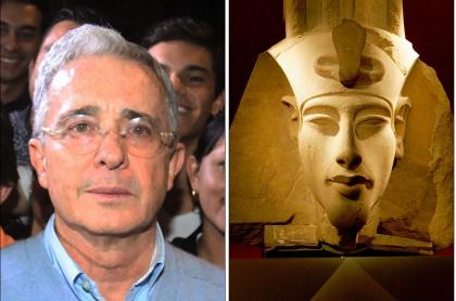 Álvaro Uribe y una imagen de Akenatón