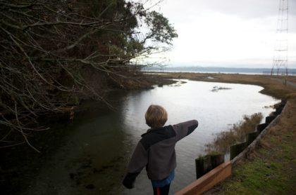 Niño de espalda mira a río, ilustra nota de Niño de 11 años encuentra estatuilla de hace 2.500 años en Israel