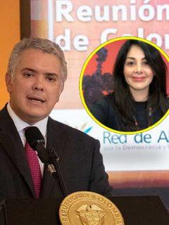 Fotos de Iván Duque y de Diana Trujillo. Recientemente el presidente le dio la Cruz de Boyacá a la ingeniera de la Nasa.