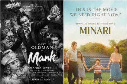 Fotomontaje de los posters de 'Mank' y 'Minari', películas nominadas a los premios Óscar 2021