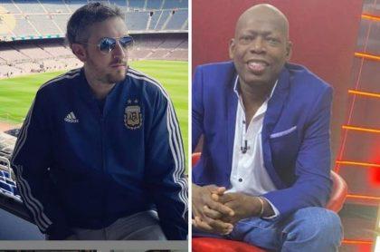 Pablo Carrozza y el Tino Asprilla, quien atacó al periodista argentino por hablar mal de los futbolistas colombianos