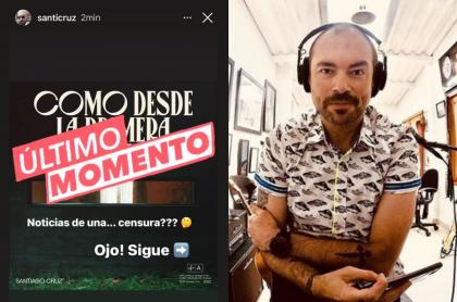 Santiago Cruz no puede publicar 'Como desde la primera vez'. Captura de pantalla de sus historias sobre censura en su video musical y fotografía del cantante.