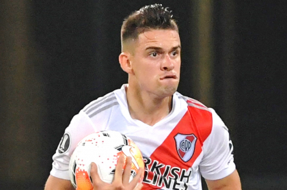 Rafael Santos Borré, cerca de  pasar de River Plate a Palmeiras de Brasil. Imagen de referencia de colombiano.