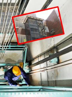 Imágenes que ilustran la caída de un ascensor en Cartagena.